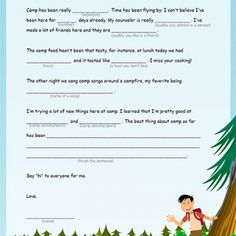 is your emergent or reluctant writer away at camp use this template to coax a