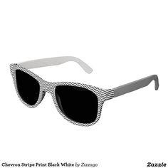 Chevron Stripe Print Black White Sunglasses