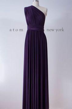 Dark Purple Floor Length Ball Gown Infinity Dress Convertible Formal Multiway Wrap Dress Bridesmaid Evening Dress