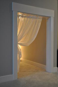 """Under the stairs play nook - love the curtain idea so the kids can't get """"locked in"""" the closet ;) Very cute for under the basement stairs. Under Stairs Playroom, Under Stairs Playhouse, Basement Play Area, Playroom Ideas, Reading Nook Kids, Kids Play Area, Play Areas, Kids Room, Basement Remodeling"""