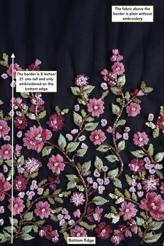 Haute Couture Fabric Hand beaded bloom of mulberry colored image 3 Embroidery On Kurtis, Hand Embroidery Dress, Bead Embroidery Patterns, Couture Embroidery, Embroidery Suits, Embroidery Fabric, Embroidery Fashion, Hand Embroidery Designs, Embroidery Stitches