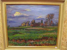 .Johan Dijkstra . olie / doek. Gezicht op Farsum. 50 x 60 cm. Dit schilderij wordt woensdag 13 november 2013 geveild door Methusalem Schoonoord bij van der Valk in Assen.