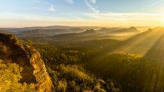 Sunrise in Saxon Switzerland [2048 x 1152][OC]   landscape Nature Photos