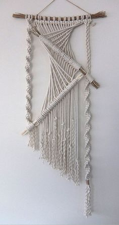 "Handmade macramé wall hanging. Made from cotton rope (3/16""). Branches - 19 Macramé width – 15"" Length – 42"" My Macramé Art is custom made for each"