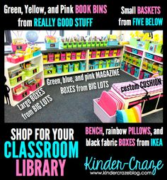 Where to shop to create a classroom library like this one! store guided reading supplies, materials for a week's worth of work, future book orders, instructional manuals and SO MUCH MORE neatly behind the tall bins from Big Lots and all visitors see is a row of magazine bins neatly lined up and clearly labeled. Of course can use for classroom books
