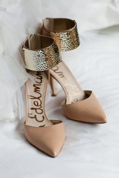 It was Gold Plated Yet Understated for this bride, who showed Sam Edelman nude heels.