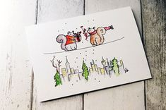 Squirrel Christmas Card by Lisa's Gallery