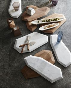 Faceted Marble + Rosewood Serving Pieces.