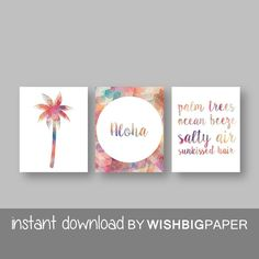 SALE!! Palm Tree Aloha Quote Wall Art. Set of Three (3) - Instant Download. Palm Trees Ocean Breeze Salty Air Sunkissed Hair. Tropical Print
