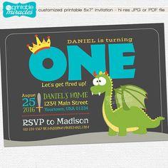 Cute dragon invitation / custom printable invite