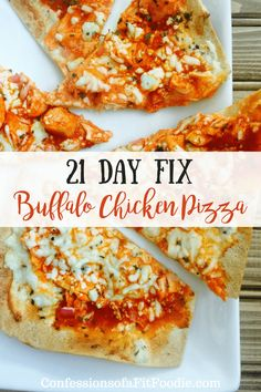 21 Day Fix Buffalo Chicken Pizza is a healthy version of the pizzeria favorite! Use precooked chicken to serve this up in no time! Buffalo Chicken Pizza, 21 Day Fix Diet, 21 Day Fix Meal Plan, 21 Day Fix Snacks, Clean Eating Snacks, Healthy Snacks, Healthy Recipes, Healthy Pizza, Spicy Pizza