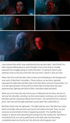 han & kylo ren/ben solo scene. <><> Yeah, I heard about the whole lighting scheme/shoulder angel thing. Very well done, movie people!