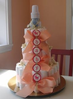 """Baby & Carriage"" Diaper Cake! For my bestie"