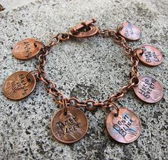 Hand Stamped Dr Who Penny Charm Bracelet - 7 timey wimey pennies -Made to Order-