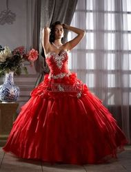 Mobile site 2013 sexy red quinceanera party masquerade prom dress ball