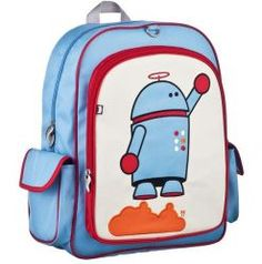 Alexander Robot #BeatrixNY Big Kids Backpack - Big enough to hold textbooks, lunch, a laptop, & more. These durable nylon packs have a large interior space with a smaller interior pocket. Exterior has a large front pocket and two side pockets. Padded back panel and shoulder straps. PVC free, lead free, and phthalate free.