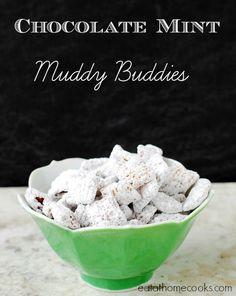 Chocolate Mint Muddy Buddies taste like Thin Mint cookies!
