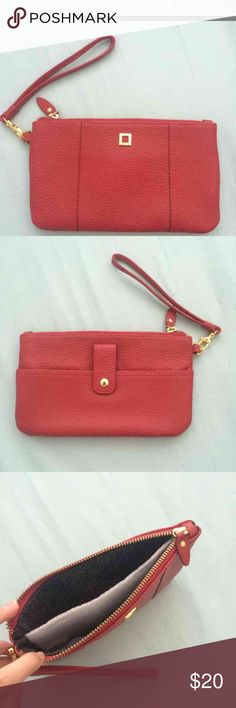 """Lodis red leather wallet wristlet Brand new without tags. Has that new leather smell :) Dimensions: 8"""" x 5"""" Will fit all iPhones! Lodis Bags Clutches & Wristlets"""