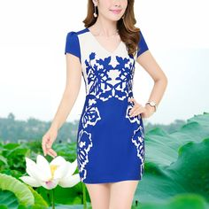 Blue and white porcelain gentle women one-piece dress summer 2014 plus size clothing slim summer chiffon  dress US $35.78
