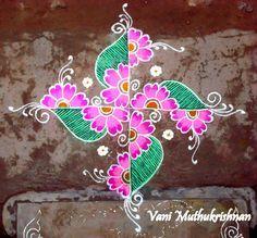My Kolam: Floral swastika Rangoli Designs Latest, Rangoli Designs Flower, Rangoli Border Designs, Rangoli Designs Diwali, Rangoli Designs With Dots, Rangoli Designs Images, Kolam Rangoli, Flower Rangoli, Rangoli With Dots