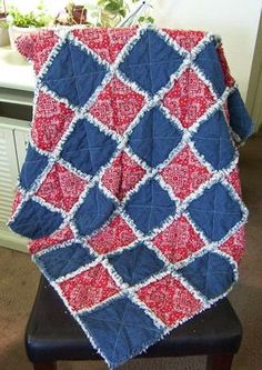 "Rag Quilt Denim Red Bandana 38"" x 44"" New 