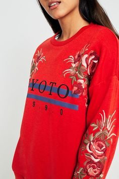 Slide View: 3: Urban Outfitters Kyoto Embroidered Floral Sweatshirt