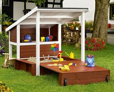 Sandpit. I am sure this is the one they showed you how to build at Toom...now where is my personal builder?