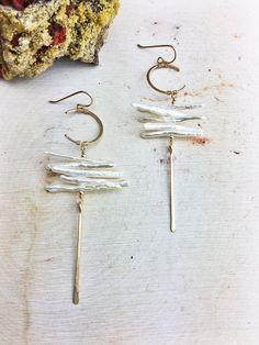 Hildur Earrings 'I' - Freshwater Stick Pearl Stack 14k Gold Fill Hoop and Dagger