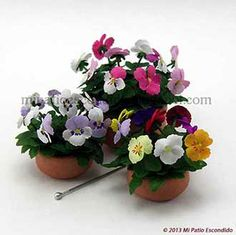 Pansies - Dollhouse miniature flowers