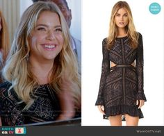 For Love & Lemons Emerie Dress worn by Hanna Marin (Ashley Benson) on PLL Pretty Little Liars Hanna, Pretty Little Liars Outfits, Pretty Little Lairs, Pll Outfits, Tv Show Outfits, Stylish Outfits, Hanna Marin, Rebel Outfit, Wedding Gowns With Sleeves