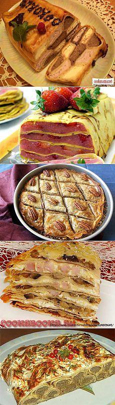 Блинные торты и пироги с разными начинками- огромная подборка к праздникам .