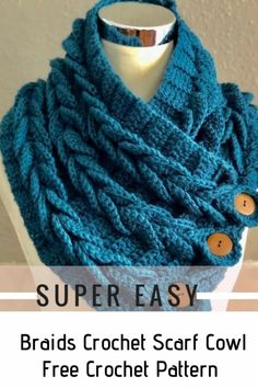 Great idea how to very easily crochet stunning colour cowl with buttons. The size can be any. Works up fast and by every crochet fan even beginner. The link Tutorial Braids Crochet Scarf Cowl with Free Tutorial Crochet Scarf Easy, Crochet Cowl Free Pattern, Crochet Stitches Free, Crochet Scarves, Crochet Clothes, Crochet Hats, Crochet Braids, Crochet Patterns, Knitting Scarves