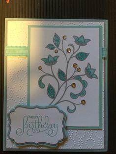 Tiffany blue and grey birthday card. Stampin Up