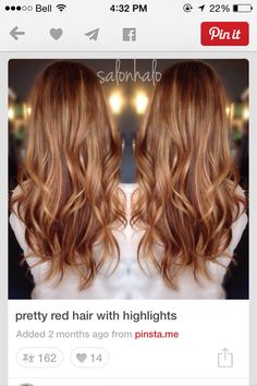 Hair Color Trends 2018 – Highlights - All About Hairstyles Pretty Red Hair, Love Hair, Great Hair, Pelo Popular, Hair Color Highlights, Golden Highlights, Corte Y Color, Hair Color And Cut, Auburn Hair