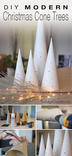do it yourself modern christmas cone trees make these christmas cone trees with lights for a glam take on holiday decor