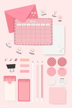 Journal Stickers, Planner Stickers, Tittle Ideas, Pink Office, Aesthetic Template, Kawaii Wallpaper, E Commerce, Writing Paper, Bullet Journal Inspiration