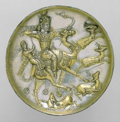 Plate with a hunting scene from the tale of Bahram Gur and Azadeh (Period: Sasanian Date: ca. 5th century A.D)