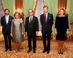 (L-R) Prince Guillaume, Hereditary Grand Duke of Luxembourg, Maria Teresa, Grand Duchess of Luxembourg, French President Francois Hollande, Henri, Grand Duke of Luxembourg and Stéphanie, Hereditary Grand Duchess of Luxembourg during a one day visit of French President in Luxembourg.