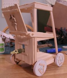 Homemade siege tower with battering ram