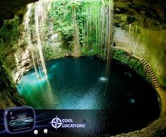 #DidYouKnow: Located on the way to the #ancient Maya city of Chichén Itzá, Mexico this #magical #pool is actually a sinkhole (cenote) which sits 85ft below #ground level.  #CoolLocations