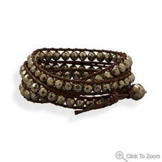 Leather and Pyrite Wrap Bracelet to compliment the brass and copper collection!