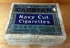 Vintage CAPSTAN Navy Cut W.D WILLS Cigarette tin Box 50 Pack Australian tobacco #Capstan