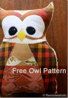 Owl Pillow Pattern #kids #owl #sewing  (show brittany for her owl themed party. would be cute in gift bags for kids)