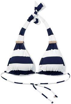 BIUSTONOSZ KĄPIELOWY MODEL: KBR-163 Modny wzór w marynarskie paski. Kostium z biustonoszem typu halter. Wyjmowane wkładki usztywniające.