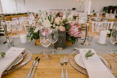 Chic Vineyard Wedding by Lad & Lass Photography Floral Wedding Decorations, Wedding Arrangements, Wedding Table Centerpieces, Centerpiece Decorations, Wedding Tables, Wedding Ideas, Wedding Planning, Wedding Inspiration, Protea Wedding