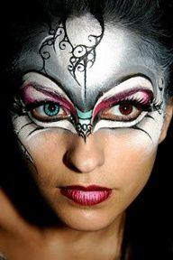 Face Painting Masquerade Mask Makeup, Face Painting by Jinny Houle Mask Face Paint, Face Paint Makeup, Makeup Art, Makeup Ideas, Makeup Inspiration, Dark Fairy Makeup, Fantasy Makeup, Masquerade Mask Makeup, Adult Face Painting