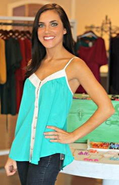 Teal Button Up Tank- SALE $11