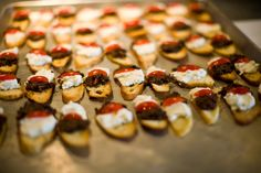 Olive tapenade and goat cheese bruschetta! #appetizers #finger foods #catering #HudsonValley #party food
