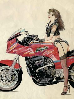 Motorcycle x Cars + α = Your Life. Motorcycle Posters, Motorcycle Art, Bike Art, Biker Chick, Biker Girl, Bike Illustration, Moto Cafe, Cafe Racer Girl, Hot Bikes
