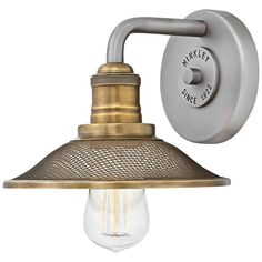 Buy the Hinkley Lighting Antique Nickel Direct. Shop for the Hinkley Lighting Antique Nickel Rigby Single Light Wide Bathroom Sconce with Mesh Shade and save. Hinkley Lighting, Barn Lighting, Wall Sconce Lighting, Lighting Ideas, House Lighting, Industrial Lighting, Kitchen Lighting, Lighting Design, Lighting Direct